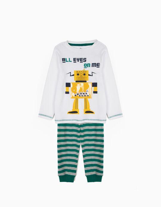 Pijama para Menino 'Robots' Riscas Manga Comprida, Branco e Verde