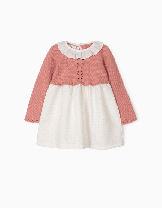 Combined Dress for Baby Girls, Pink/White