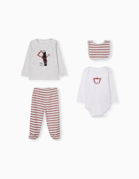 Bodysuit, Sports Combo & Bib for Babies, Light Grey