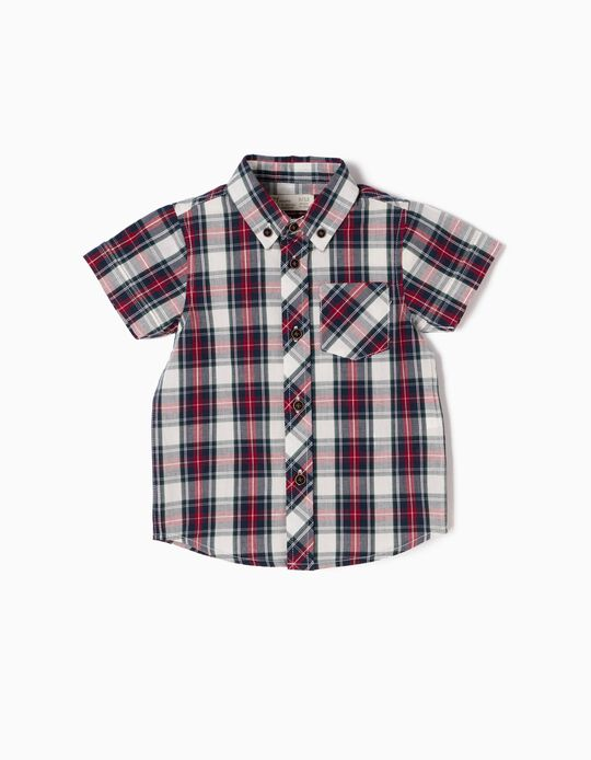 Camisa Manga Curta Xadrez Vermelha e Azul