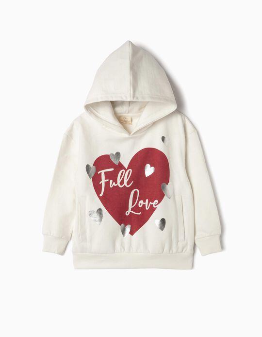 Sweatshirt com Capuz para Menina 'Full Love', Branco