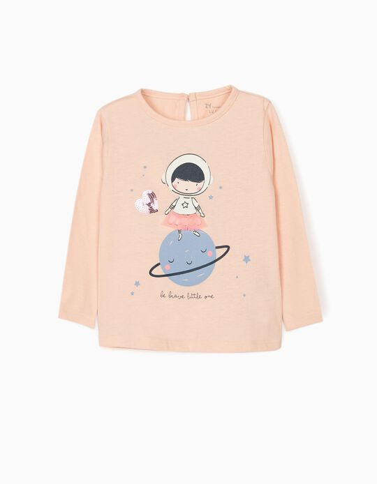 Long Sleeve Top for Baby Girls 'Brave', Pink