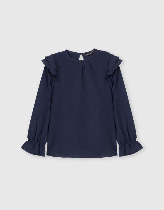 Ruffled Blouse, Women, Dark Blue