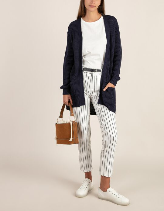 Striped Tailored Fit Trousers