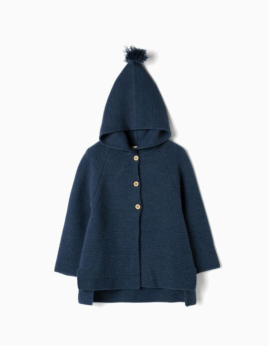 Hooded Knit Cardigan for Girls, Dark Blue