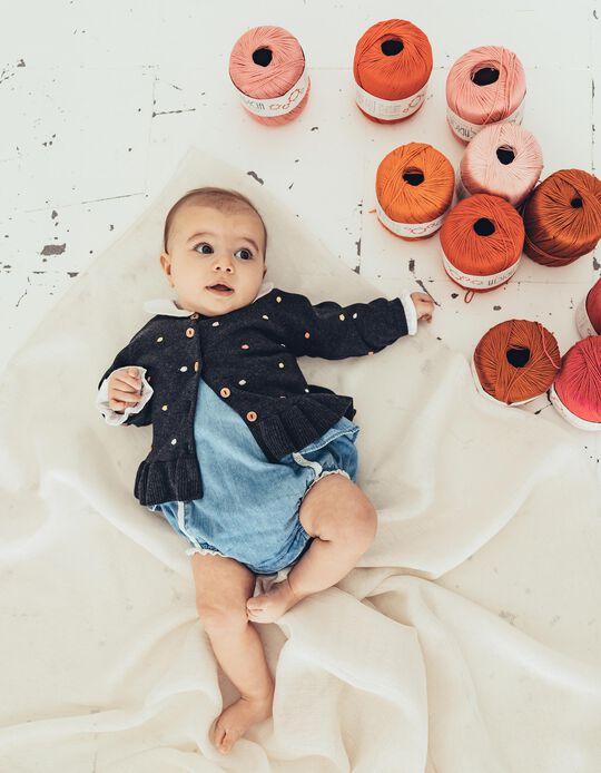 Cardigan for Newborn Baby Girls, 'Dots', Dark Grey