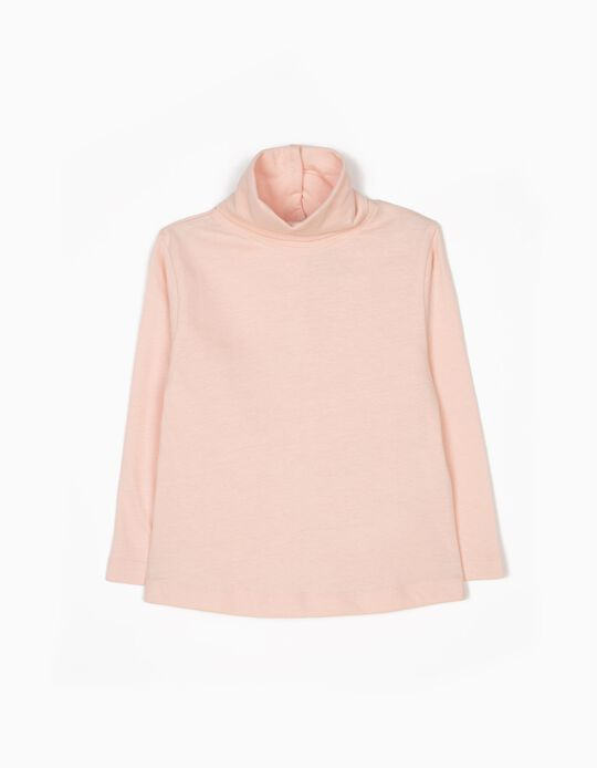 Light Pink Long-Sleeved Top with High Neck