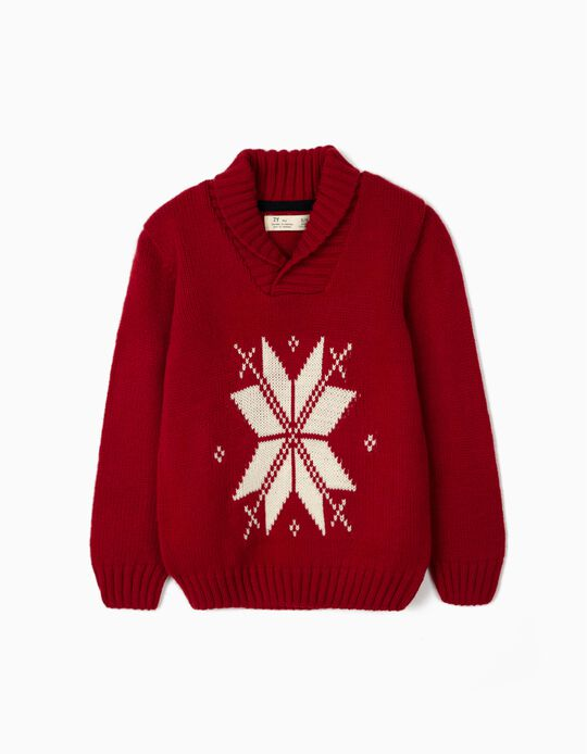 Jumper with Jacquard for Boys, Red