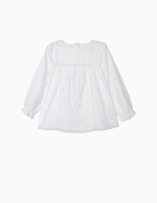Blusa para Menina 'B&S' com Rendas e Bordados, Branco
