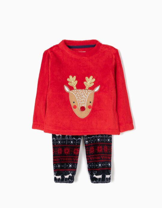 Pijama Camisola e Calças Rena Natal Vermelho
