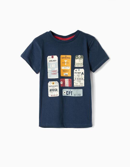 T-shirt para Menino 'Airlines', Azul Escuro