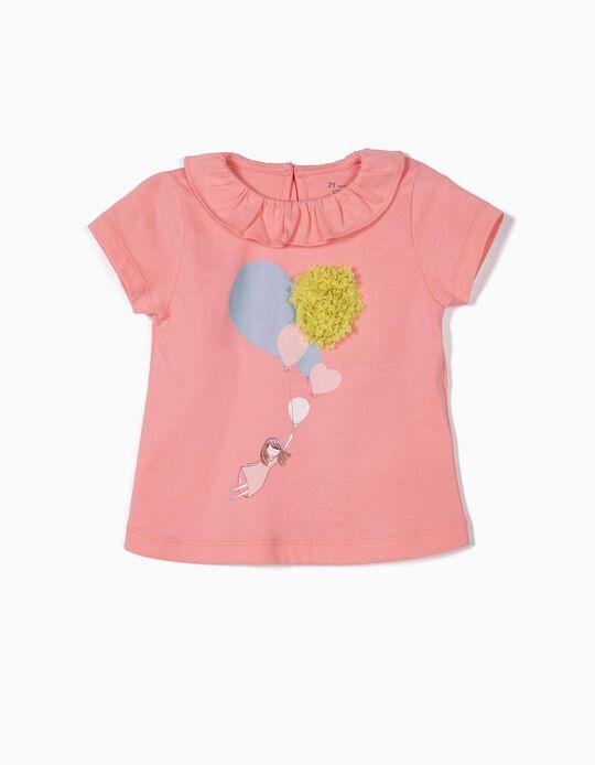T-shirt para Bebé Menina 'Balloons', Rosa