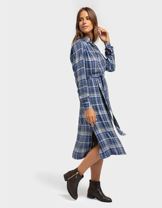 Vestido comprido xadrez