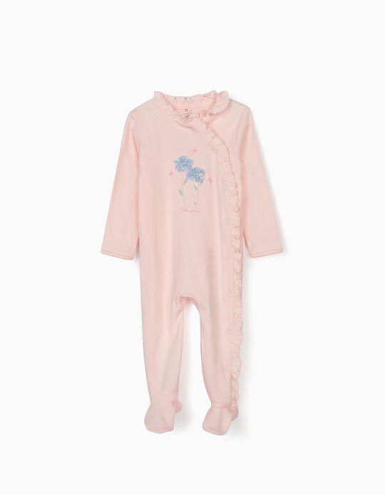 Sleepsuit for Baby Girls, 'Little Garden', Pink