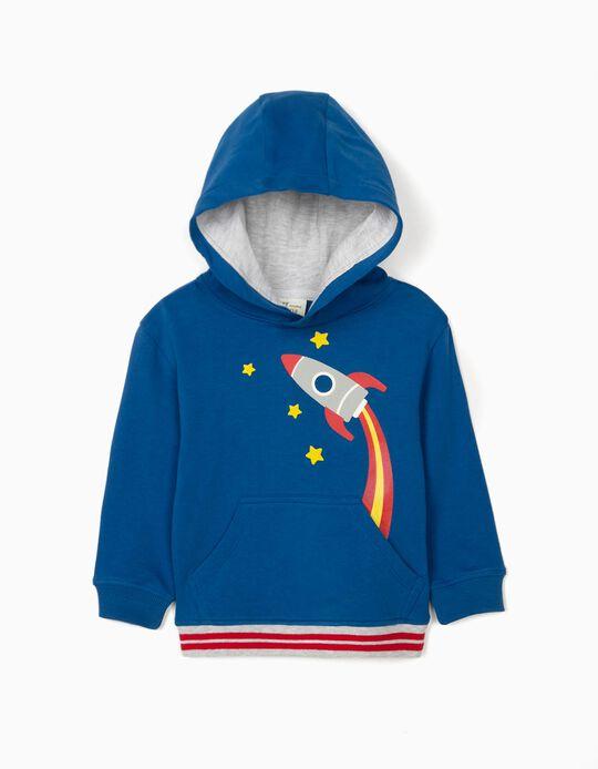 Sweatshirt com Capuz para Bebé Menino 'Rocket', Azul