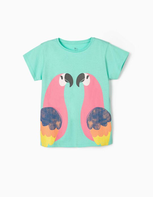 T-shirt for Girls, 'Birds', Aqua Green