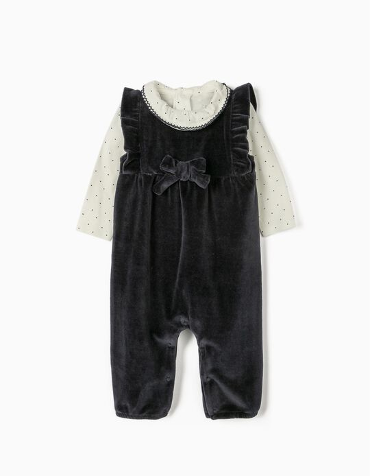 Velour Romper and Bodysuit for Newborn Baby Girls, Dark Blue/White