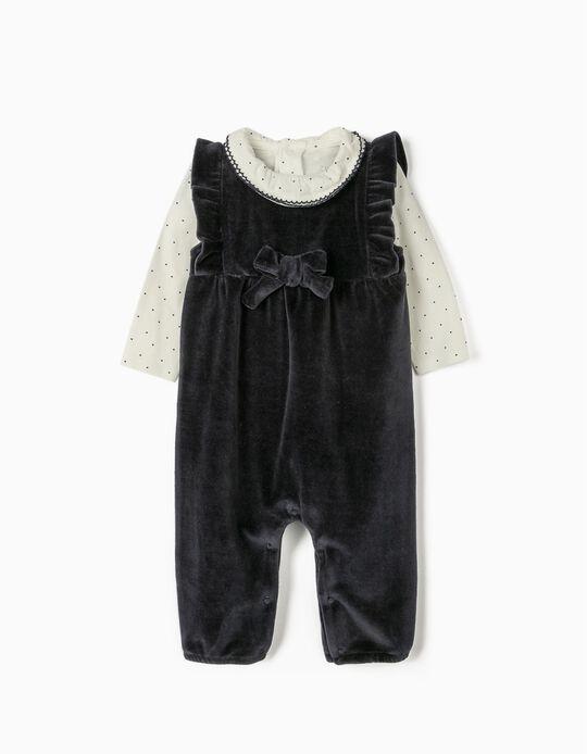 Velour Romper and Bodysuit for Newborn Baby Girls, Dark Blue/White