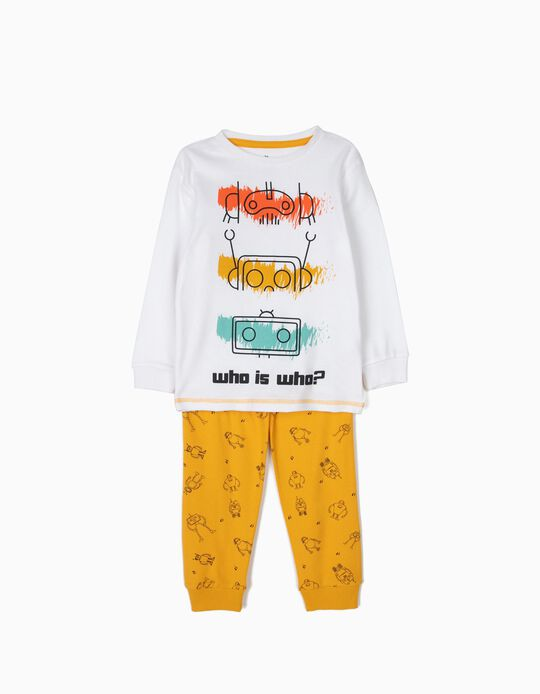 Pijama para Menino 'Robots', Branco e Amarelo