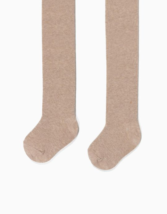 Fine Knit Tights for Girls, Marl Beige