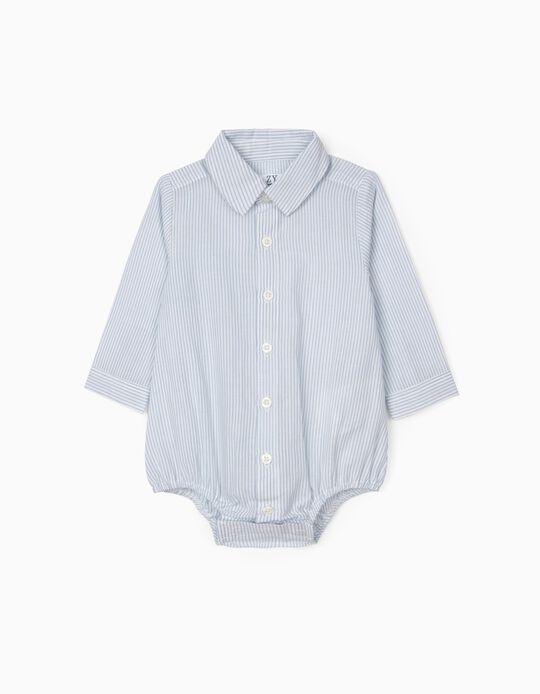 Body-Camisa Riscas para Recém-Nascido, Azul