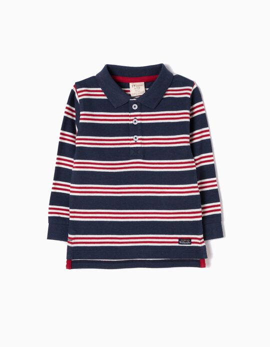 Red & Blue Striped Long-Sleeved Polo Shirt