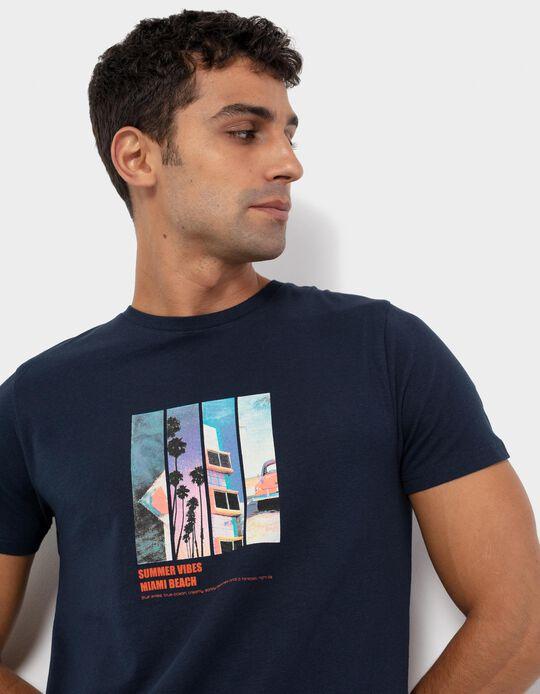 T-shirt com Estampado, Homem, Azul Escuro