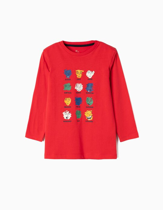 Long-sleeve Top for Boys 'Moods', Red