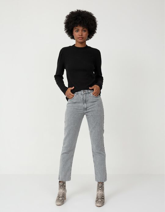 Mum Fit Jeans, Women, Grey