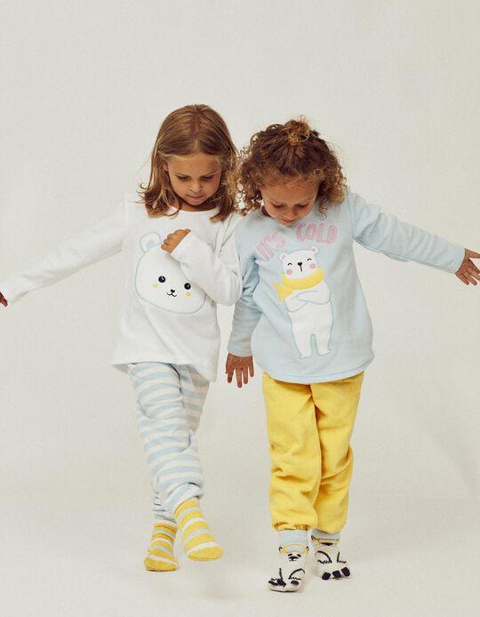 2 Polar Pyjamas for Girls 'It's cold', Blue/White/Yellow