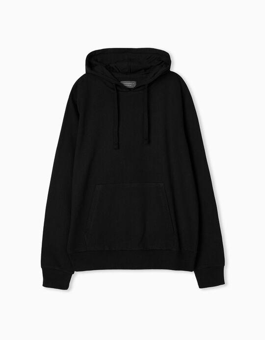 Hooded Basic Sweatshirt, Men, Black