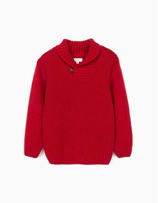 Camisola de Malha com Gola Xale para Menino, Vermelho