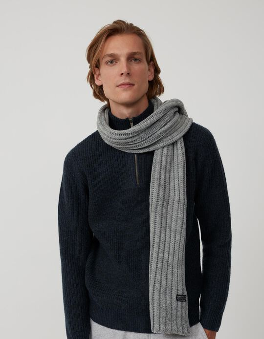 Rib Knit Scarf, Men, Grey