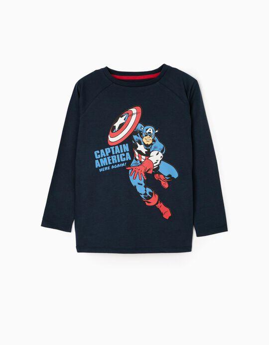 Long Sleeve T-Shirt for Boys 'Captain America', Dark Blue