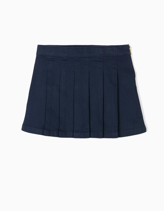 Pleated Skirt for Girls, Dark Blue