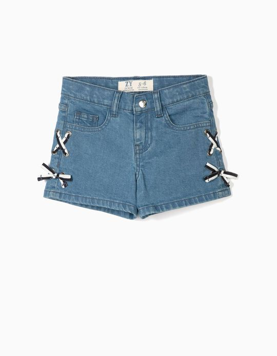 Denim Shorts for Girls 'Little Bows', Blue