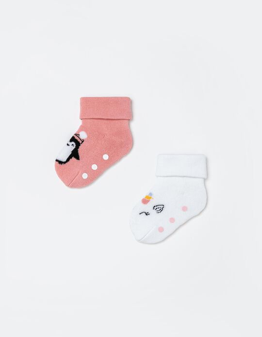 2 Pairs Non-Slip Socks, Babies, White/ Pink