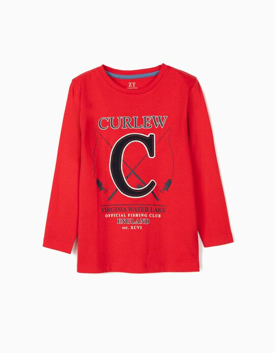 Long Sleeve Top for Boys, 'Curlew', Red
