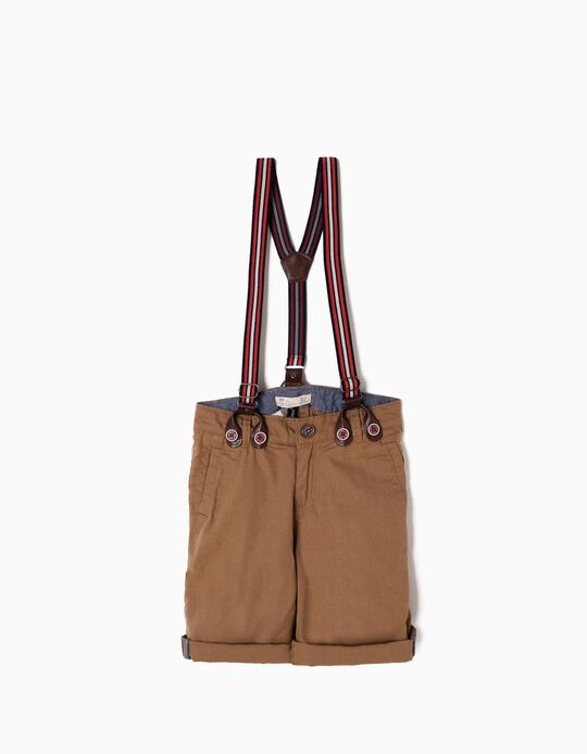 Camel Shorts with Suspenders