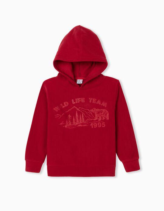 Sweatshirt Polar com Capuz, Criança, Vermelho