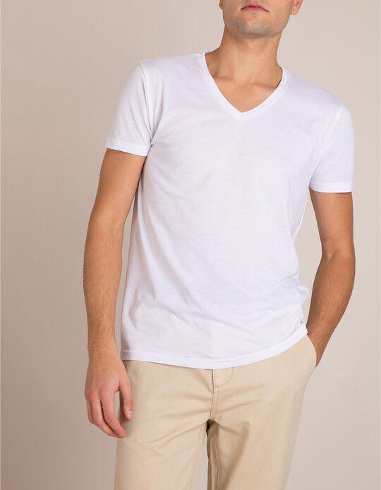 T-Shirt Decote Em V Branco