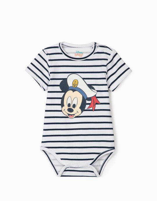 Striped Bodysuit for Newborn Baby Boys, 'Sailor Mickey Mouse', White/Blue
