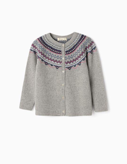 Wool Cardigan for Girls, Grey