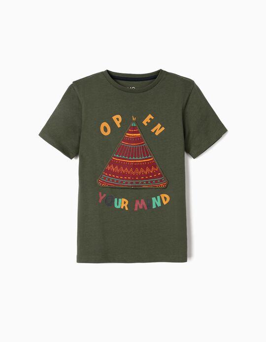 T-shirt 'Open Your Mind', para Menino