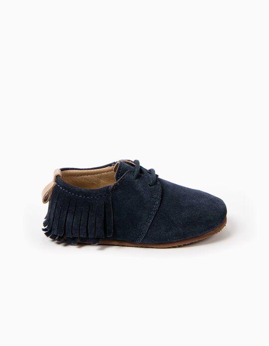 Sapatos de Camurça Azuis Franjas