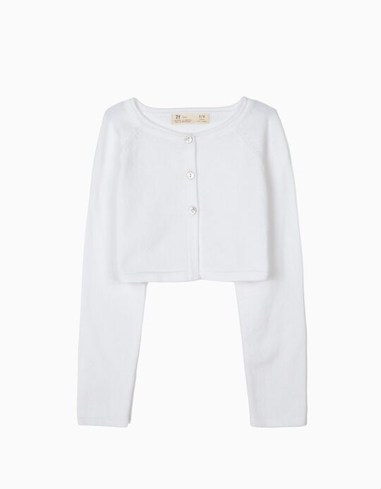 Bolero Jacket for Girls, White
