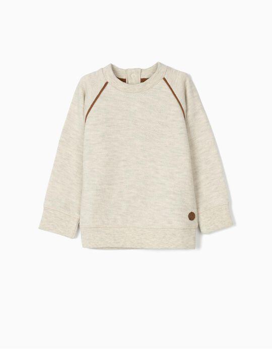 Sweatshirt para Bebé Menino com Cotoveleiras, Bege