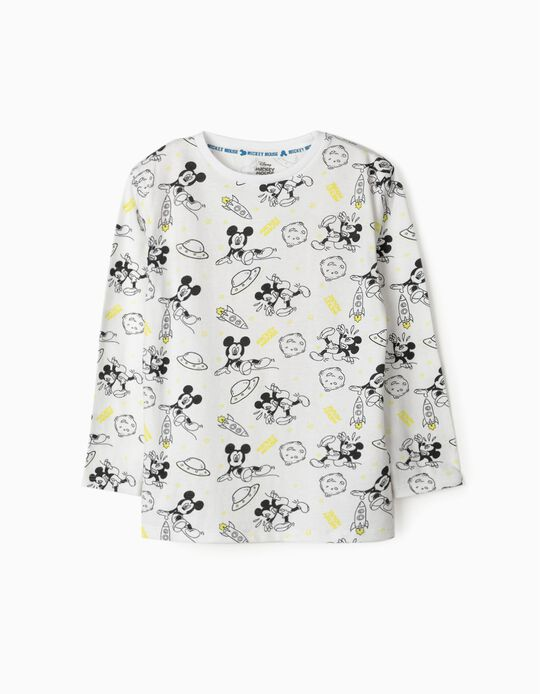 T-shirt Manga Comprida para Menino 'Mickey Space', Branco