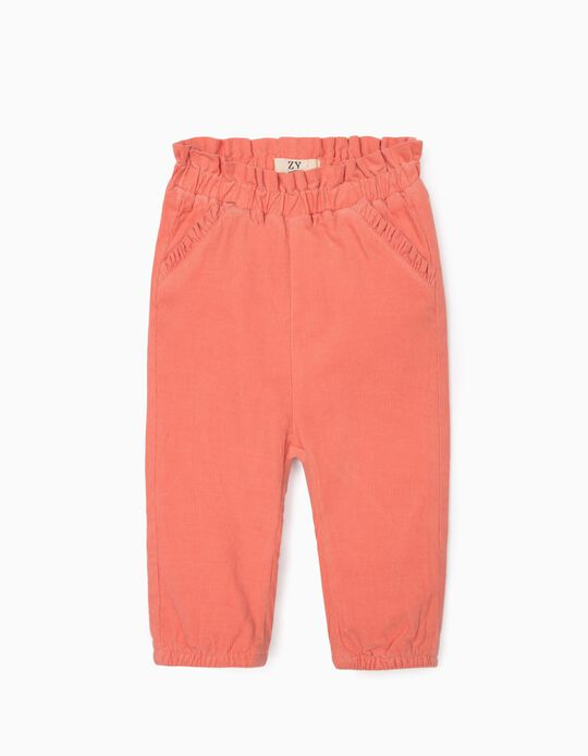 Corduroy Trousers for Newborn Baby Girls, Pink