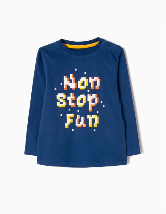 Long-Sleeved T-Shirt with Print, Non Stop Fun